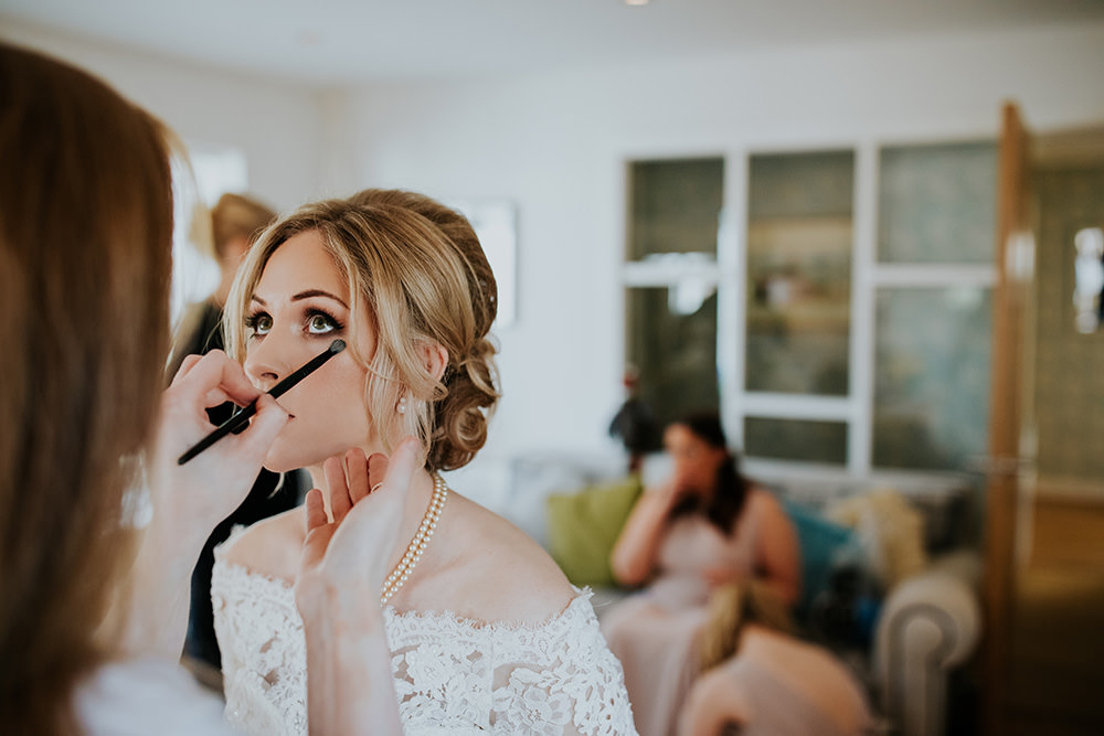 Bride Bridal Hair Style Up Do Make Up Scandi Foliage Wedding Ross Alexander Photography
