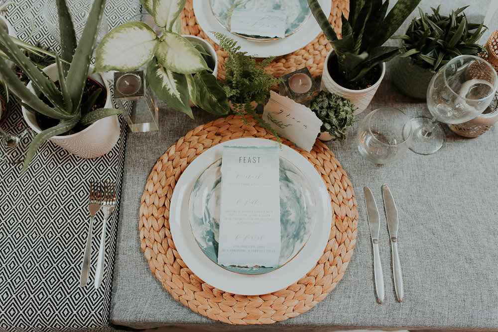 Place Setting Matt Woven Wicker Scandinavian Mid Century Minimal Wedding Ideas Rachel Lou Photography