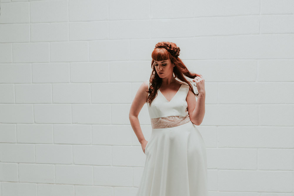 Hair Bride Bridal Up Do Half Style Scandinavian Mid Century Minimal Wedding Ideas Rachel Lou Photography