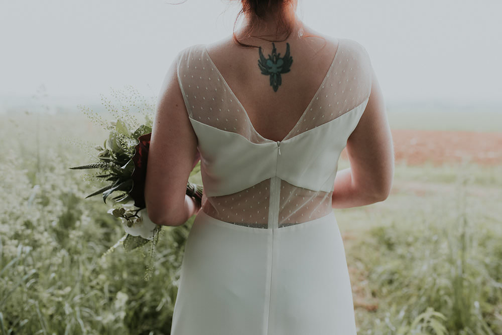 Dress Gown Bride Bridal Sheer Modern Scandinavian Mid Century Minimal Wedding Ideas Rachel Lou Photography