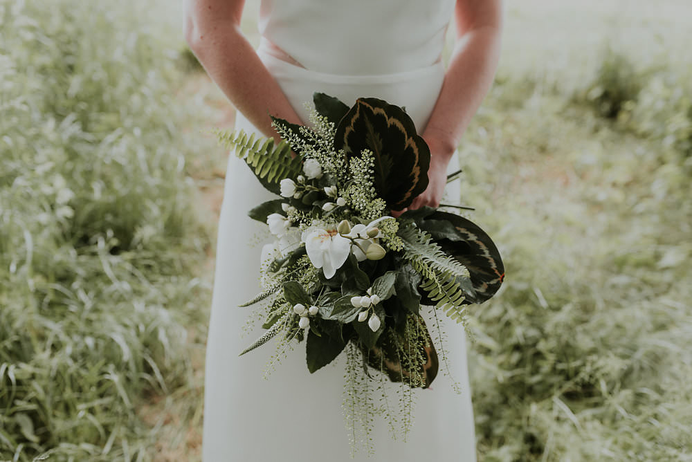 Bride Bridal Bouquet Flowers Fern Leaf Leaves Succulents Greenery Foliage Orchids Scandinavian Mid Century Minimal Wedding Ideas Rachel Lou Photography
