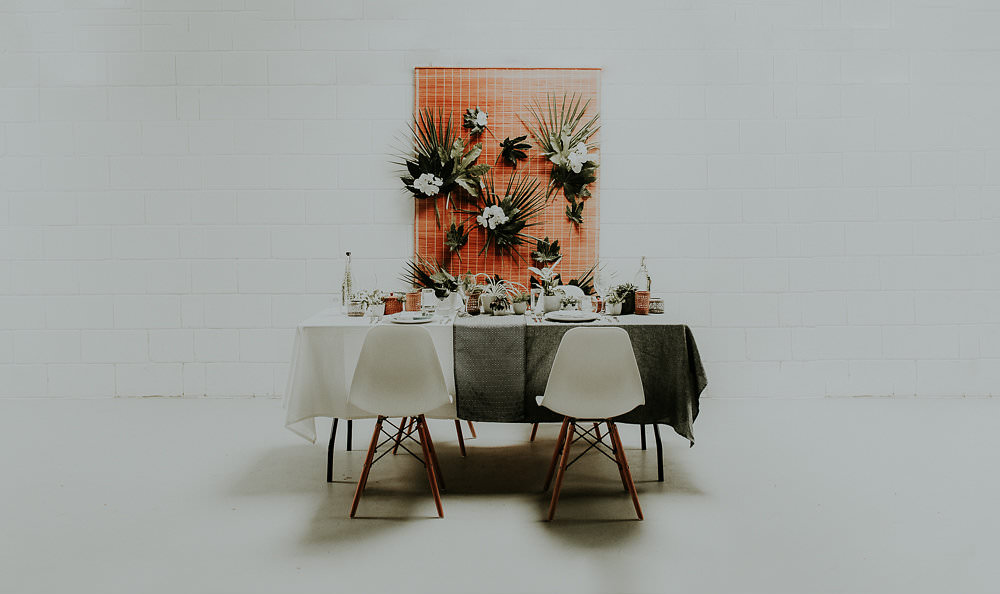 Tablescape Decor Table House Plants Succulents Foliage Greenery Backdrop Scandinavian Mid Century Minimal Wedding Ideas Rachel Lou Photography