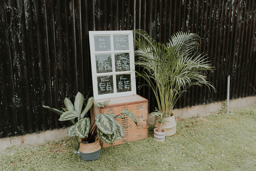 Seating Plan Chart Window Frame Decor Table House Plants Succulents Foliage Greenery Scandinavian Mid Century Minimal Wedding Ideas Rachel Lou Photography