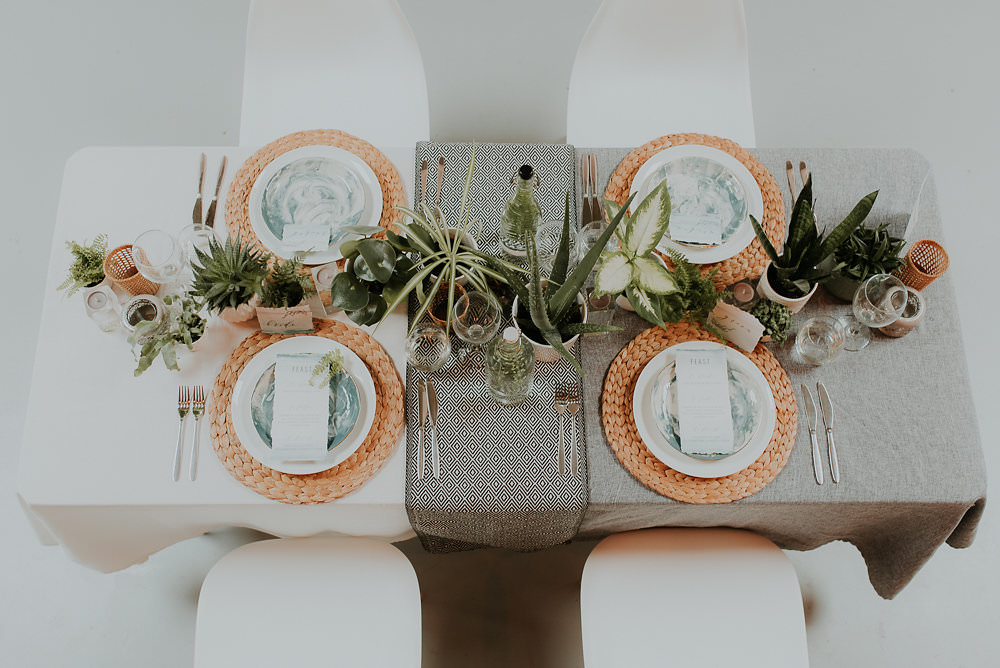 Place Setting Matt Woven Wicker Grey Table Runner Monochrome Print Scandinavian Mid Century Minimal Wedding Ideas Rachel Lou Photography