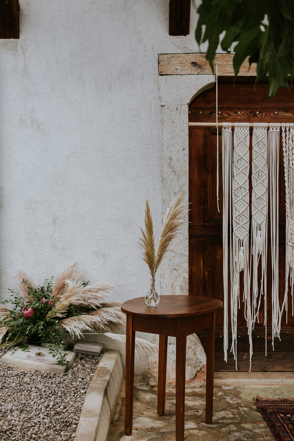 Pampas Grass Table Flowers Decor Macrame Hanging Slovenia Wedding Bohemian Maja Tsolo Photography