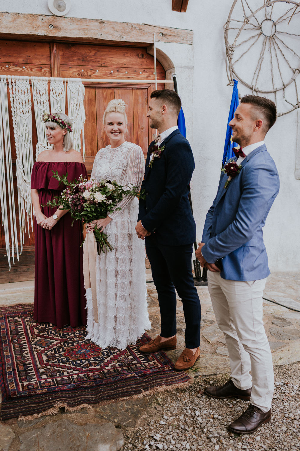Persian Rug Aisle Ceremony Slovenia Wedding Bohemian Maja Tsolo Photography