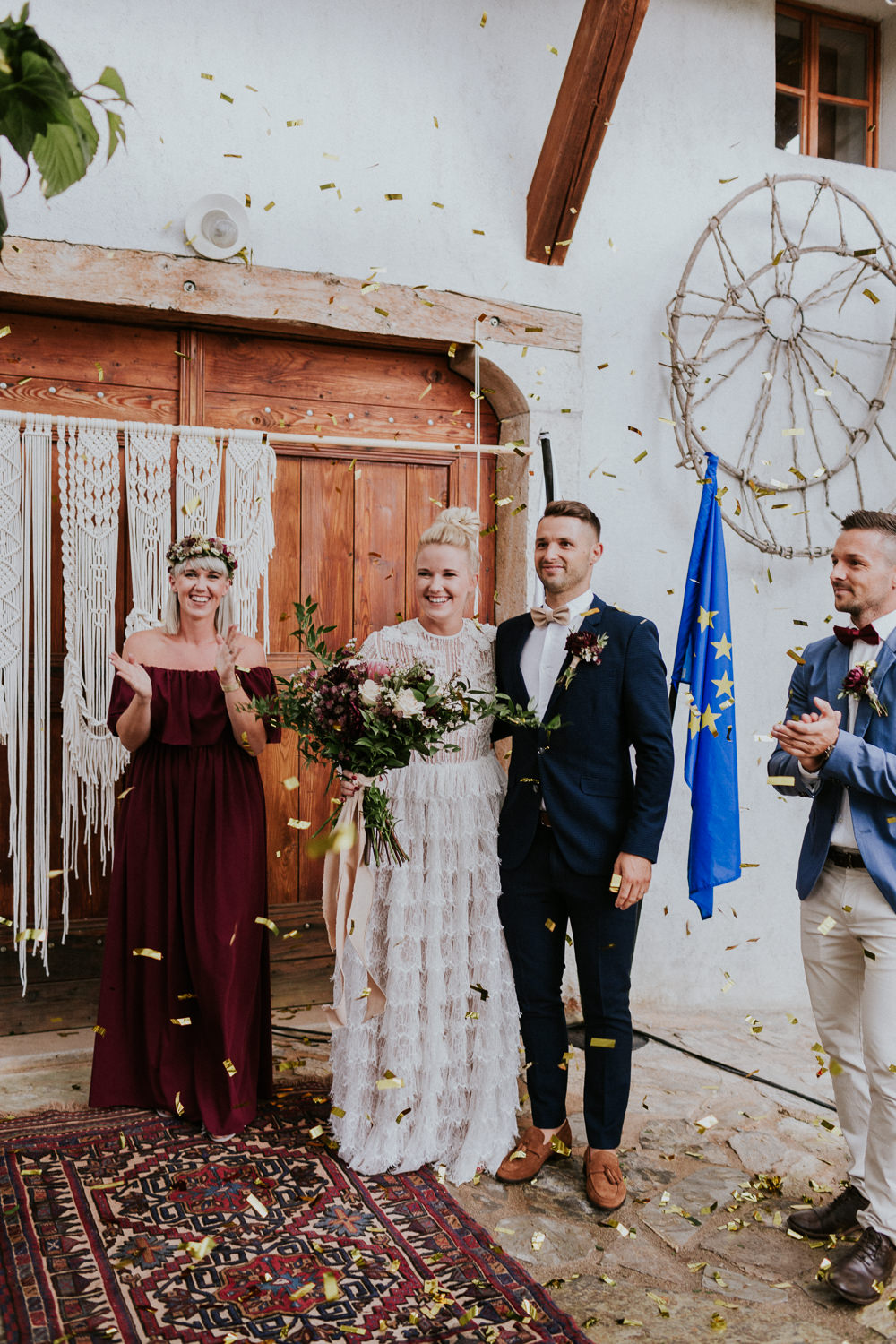 Confetti Throw Slovenia Wedding Bohemian Maja Tsolo Photography