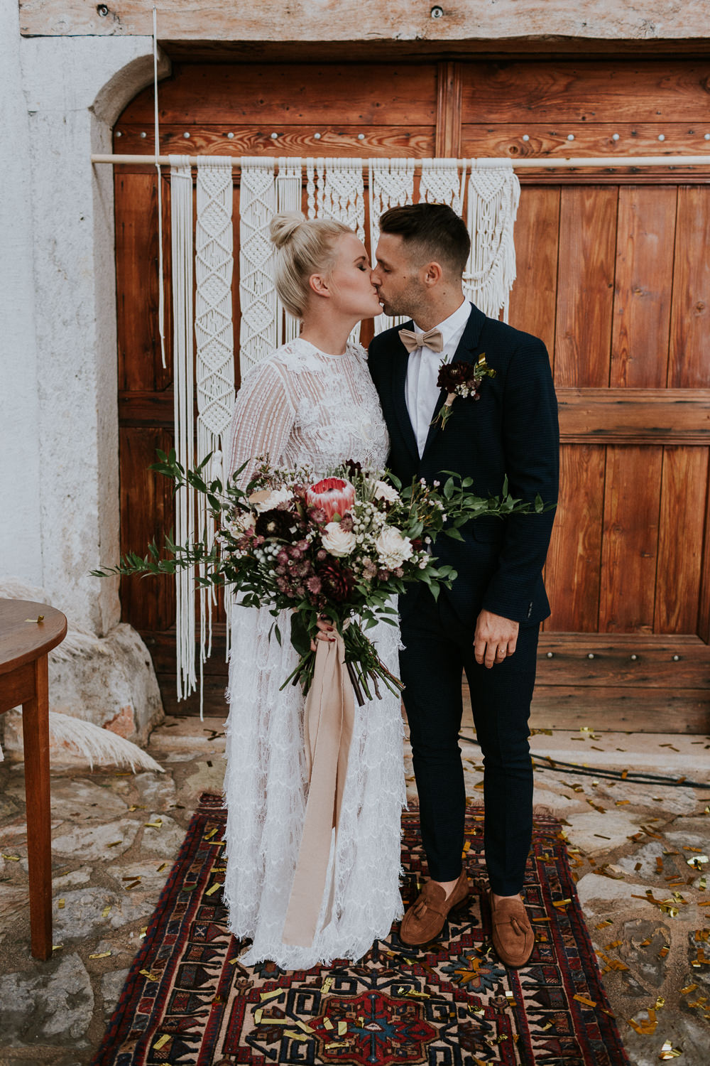 Macrame Backdrop Ceremony Slovenia Wedding Bohemian Maja Tsolo Photography