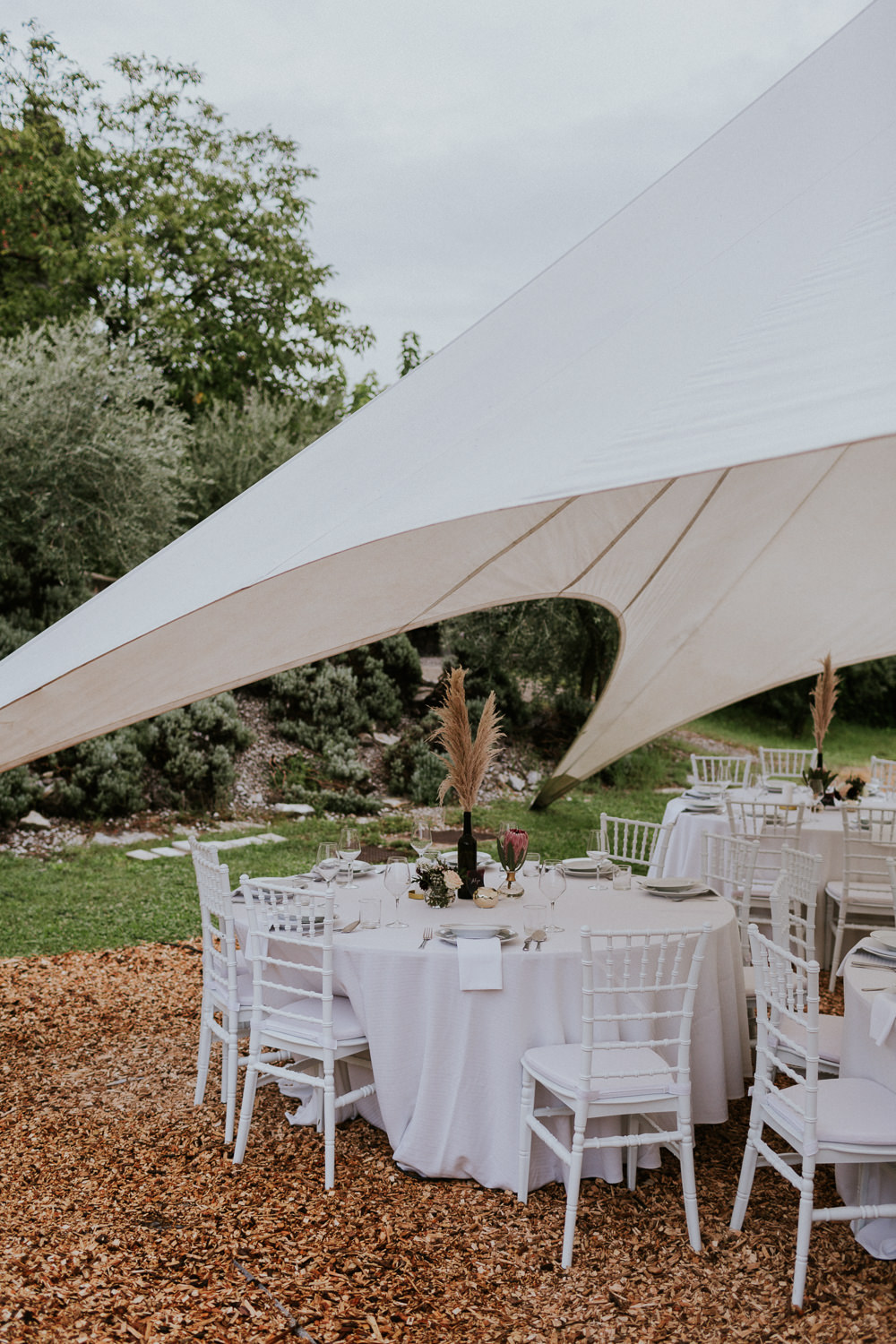 Open Marquee Stretch Tent Slovenia Wedding Bohemian Maja Tsolo Photography