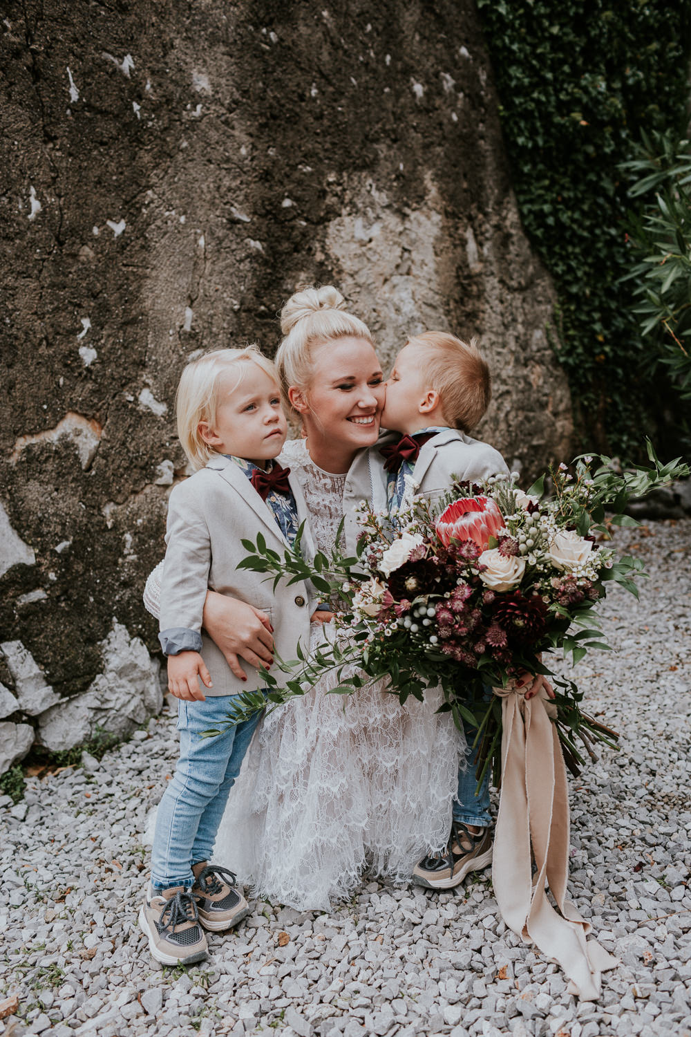 Page Boys Bow Ties Blazers Slovenia Wedding Bohemian Maja Tsolo Photography