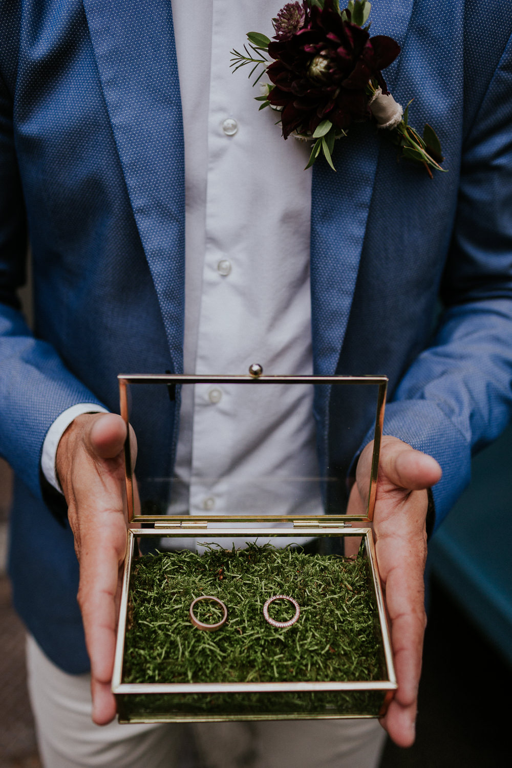 Glass Ring Box Moss Slovenia Wedding Bohemian Maja Tsolo Photography