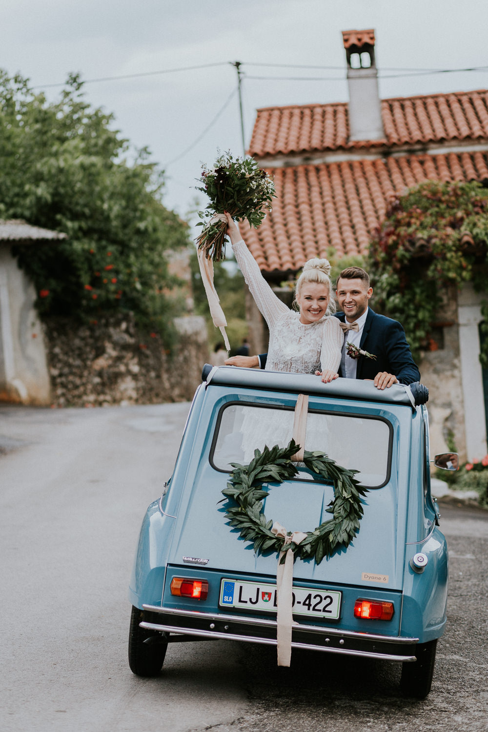Citreon Car Transport Vintage Blue Wreath Slovenia Wedding Bohemian Maja Tsolo Photography