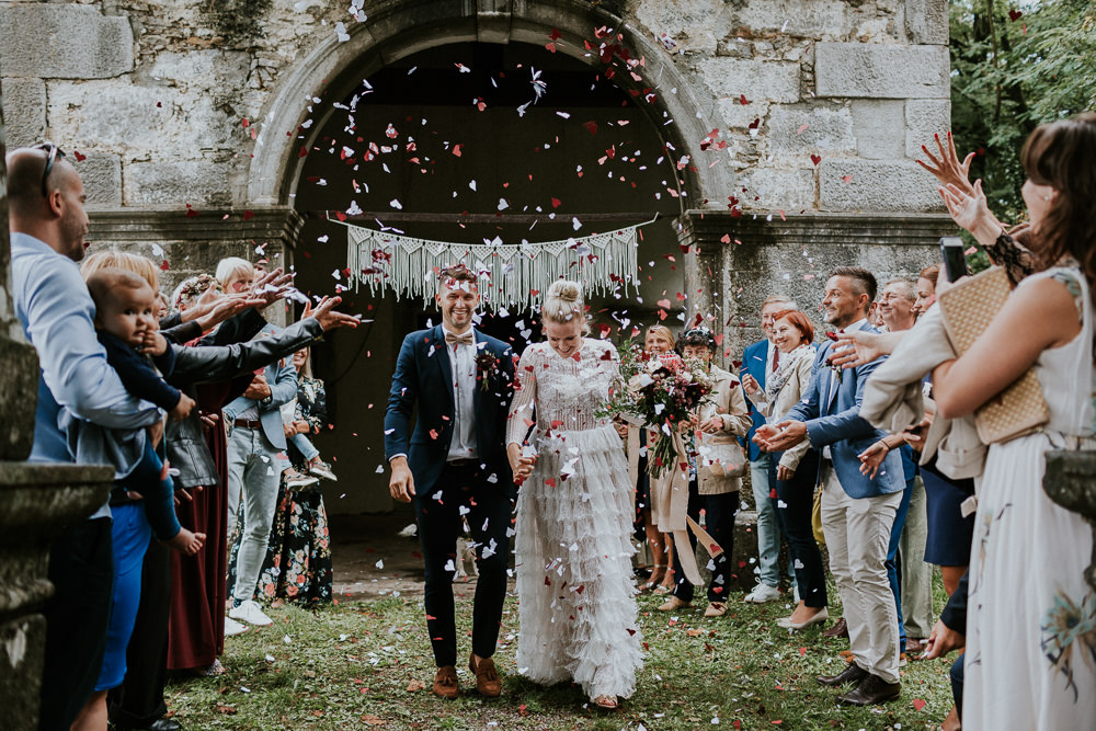 Confetti Throw Macrame Hanging Backdrop Slovenia Wedding Bohemian Maja Tsolo Photography