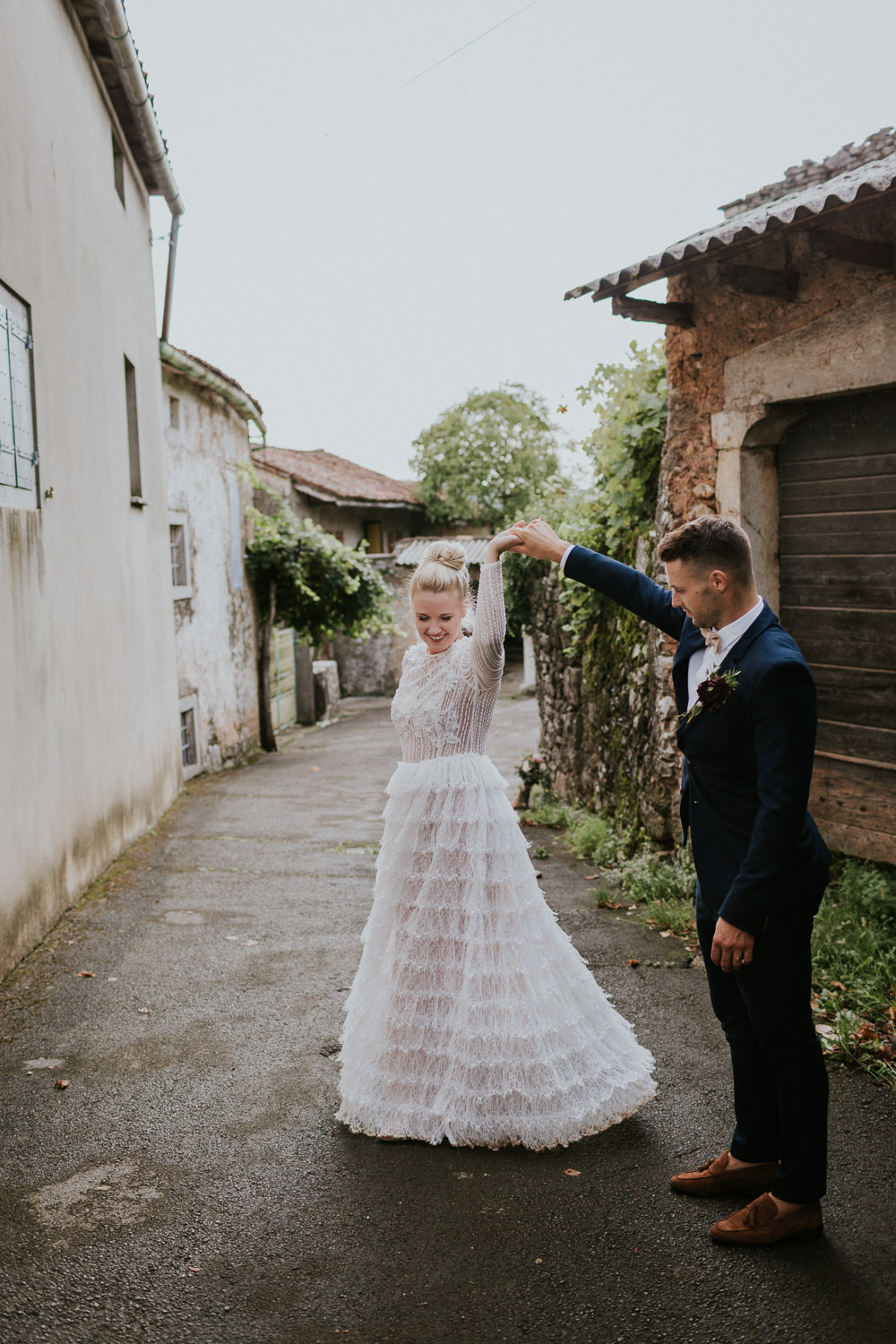 Bride Bridal Dress Gown Sleeves Ruffle Skirt Slovenia Wedding Bohemian Maja Tsolo Photography