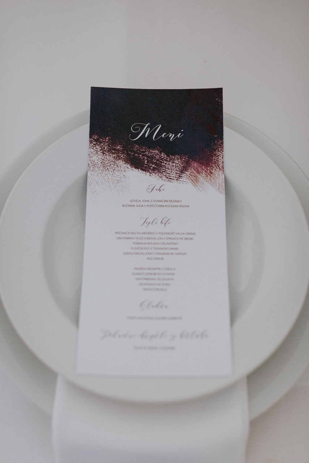 Calligraphy Watercolour Stationery Menu Slovenia Wedding Bohemian Maja Tsolo Photography