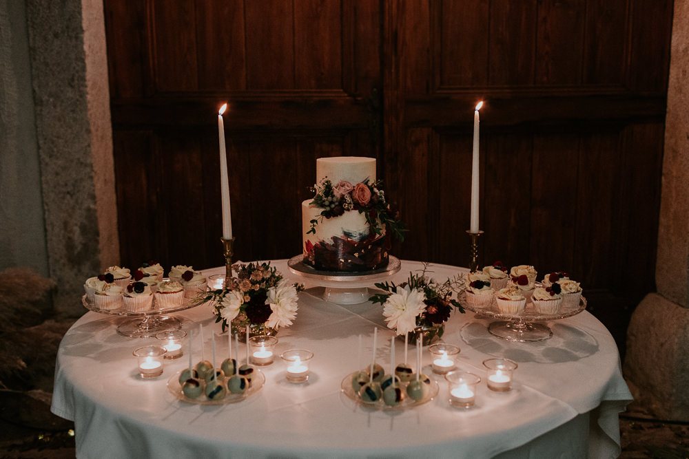Cake Table Flowers Candles Slovenia Wedding Bohemian Maja Tsolo Photography