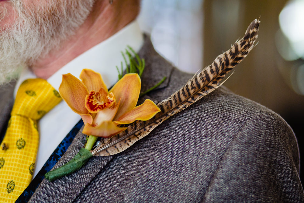 Buttonhole Flowers Orchid Feather Groom Groomsmen Stepney Hill Farm Wedding Emma + Rich Photography