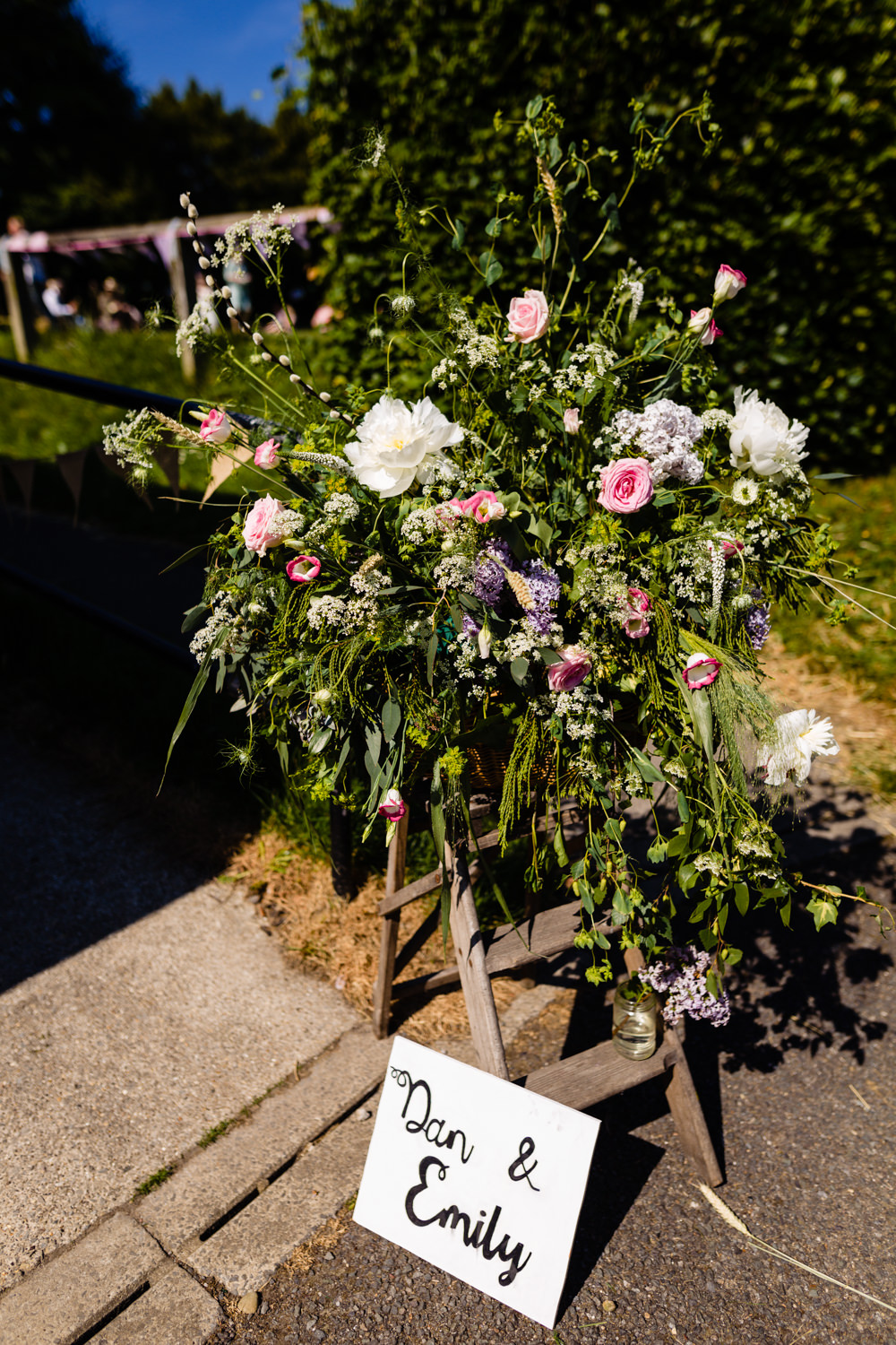 Flower Arrangement Outfoor Large Stepney Hill Farm Wedding Emma + Rich Photography