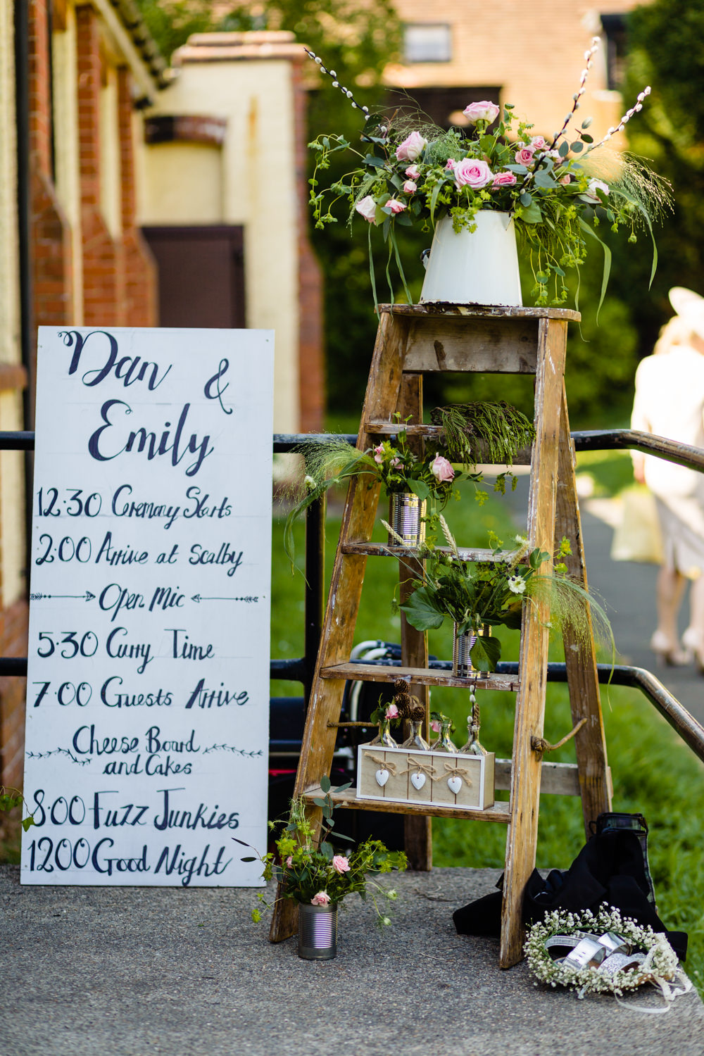 Wooden Ladder Tin Can Flowers Order Day Sign Stepney Hill Farm Wedding Emma + Rich Photography
