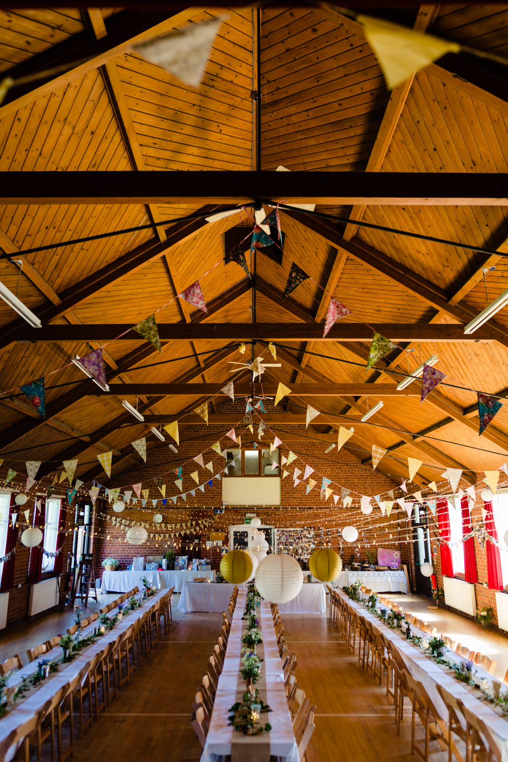 Bunting Hall Decor Stepney Hill Farm Wedding Emma + Rich Photography