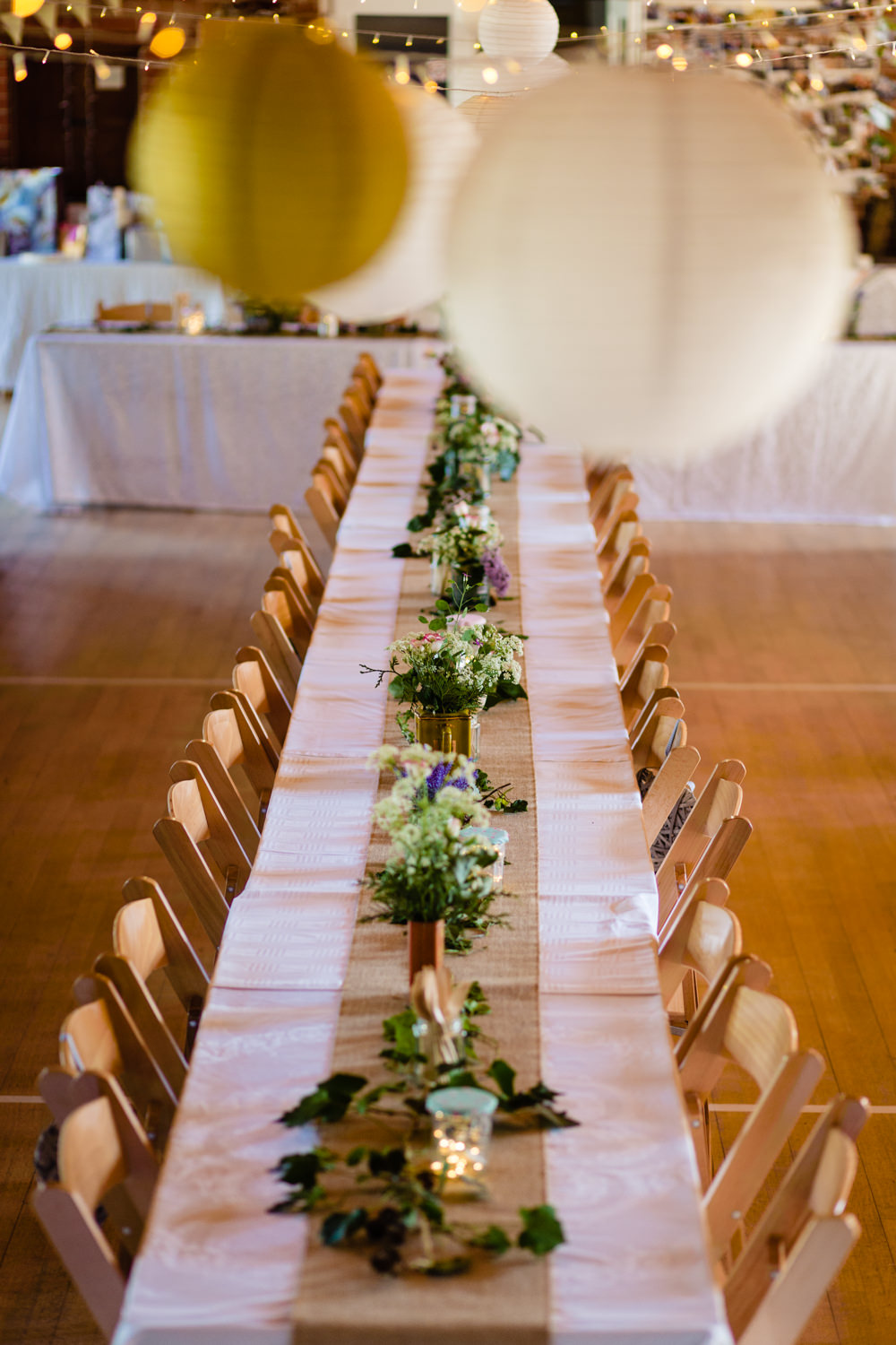 Long Trestle Tables Wooden Chairs Decor Stepney Hill Farm Wedding Emma + Rich Photography