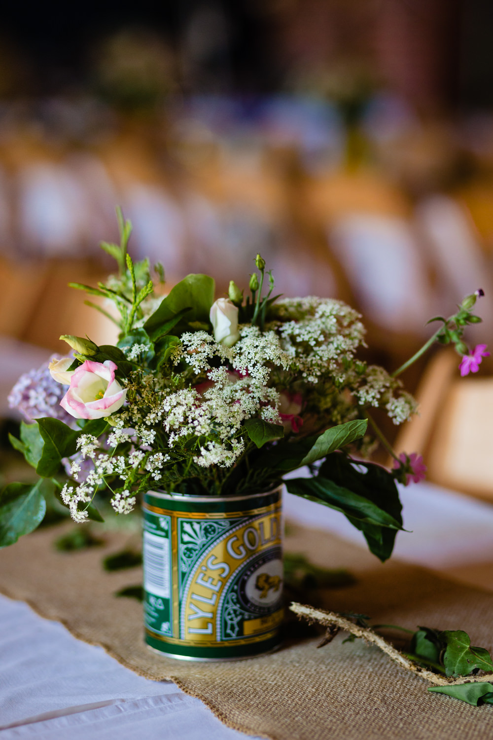 Tin Can Flowers Centrepiece Decor Stepney Hill Farm Wedding Emma + Rich Photography
