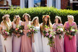 Bridesmaids Pink Dresses Flower Crowns Boho Bohemian Stepney Hill Farm Wedding Emma + Rich Photography