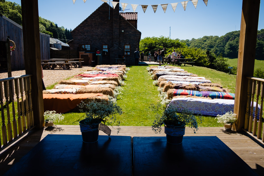 Outdoor Ceremony Haybales Blankets Stepney Hill Farm Wedding Emma + Rich Photography
