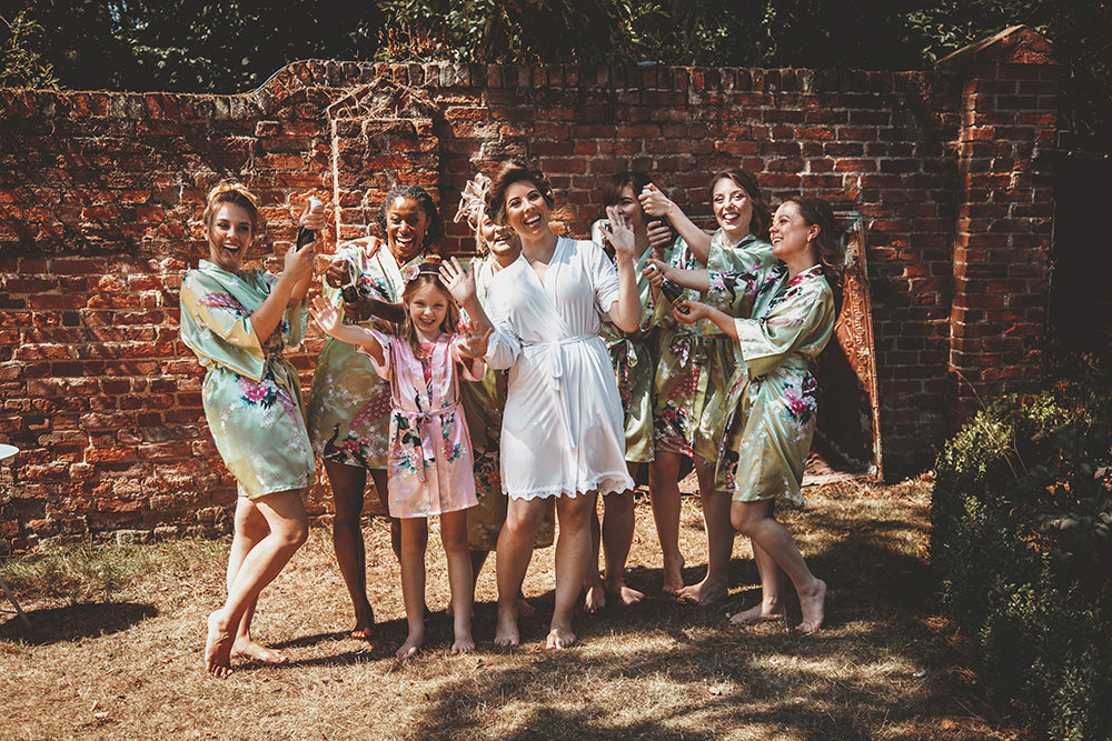 Bride Bridesmaids Prep Robes Dressing Gowns Summer Sunflower Rustic Wedding Masha Unwerth