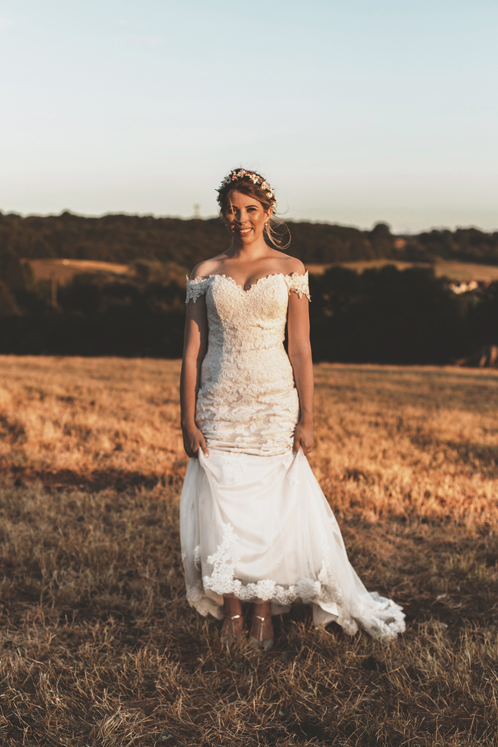 Summer Sunflower Rustic Wedding Masha UnwerthBride Bridal Dress Gown Lace Fit Flare Train Justin Alexander