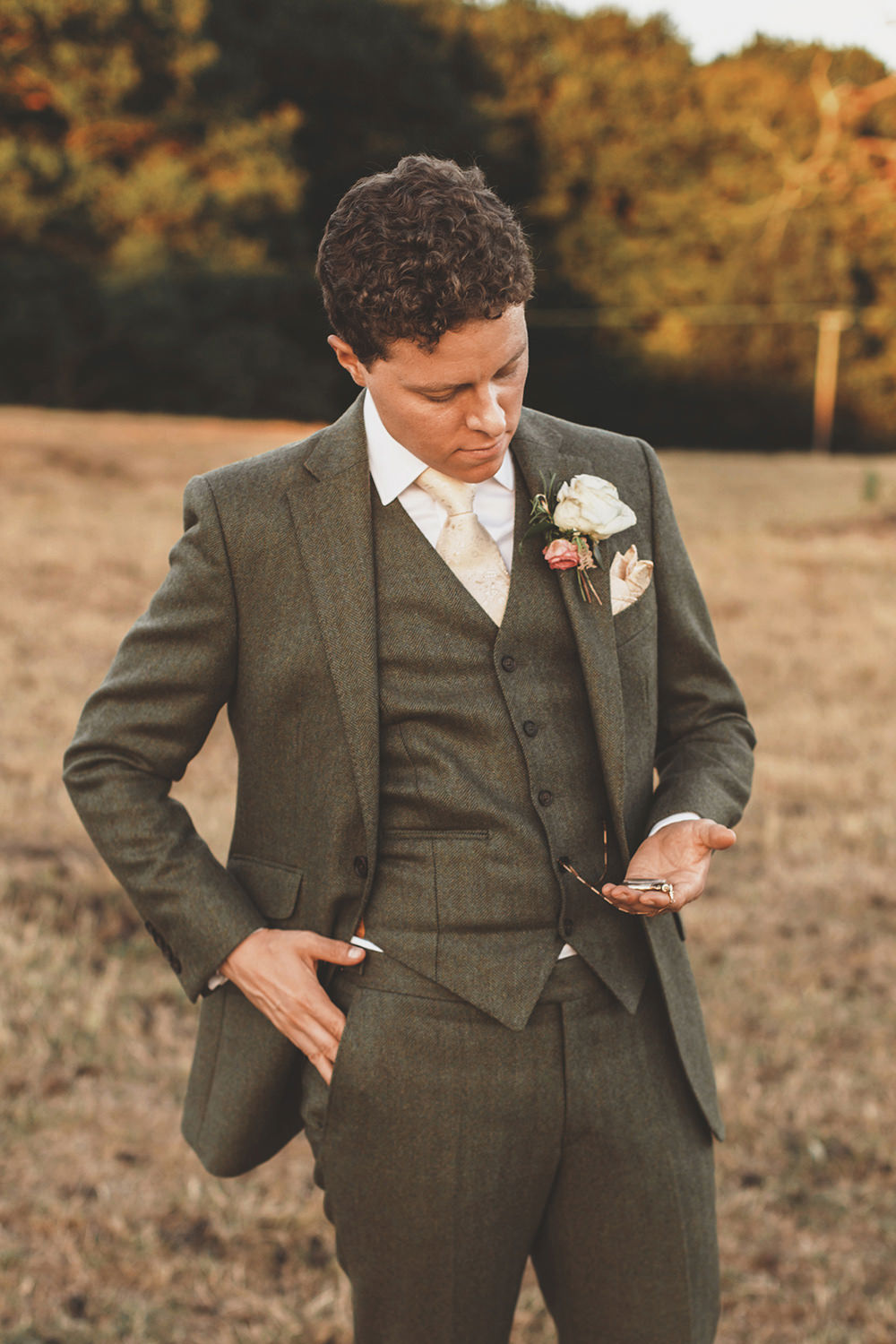 Groom Suit Green Tweed Waistcoat Summer Sunflower Rustic Wedding Masha Unwerth