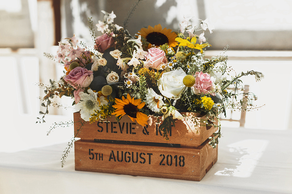 Wooden Crate Flowers Personalised Colourful Wild Summer Sunflower Rustic Wedding Masha Unwerth