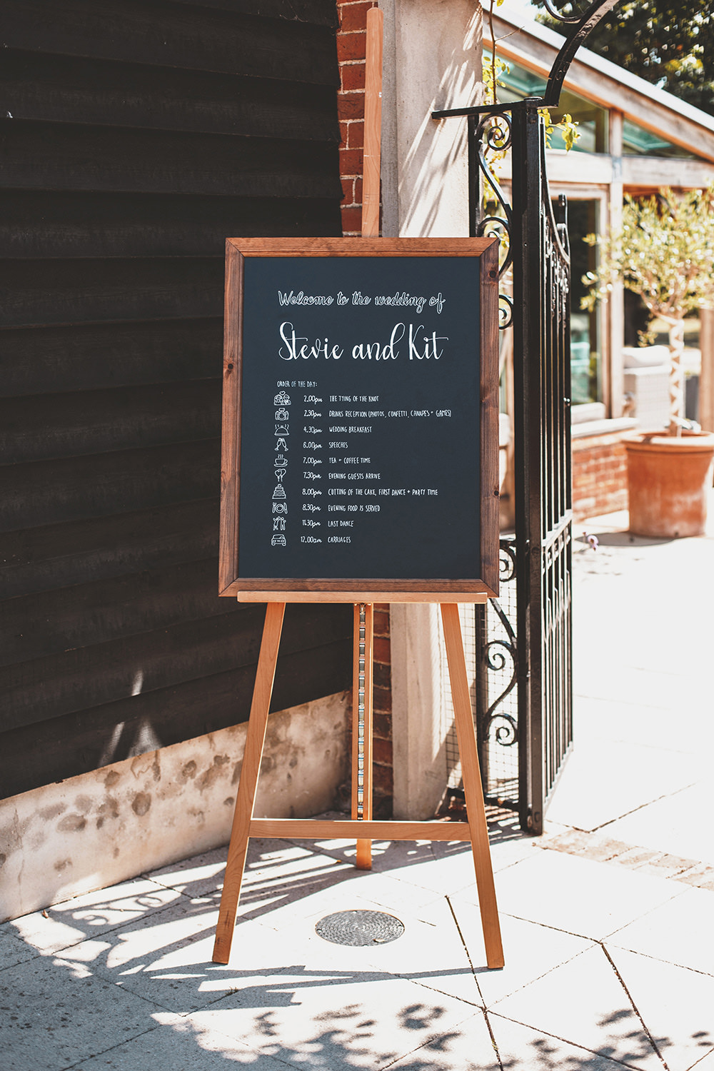 Chalk Black Board Sign Welcome Easel Timings Summer Sunflower Rustic Wedding Masha Unwerth