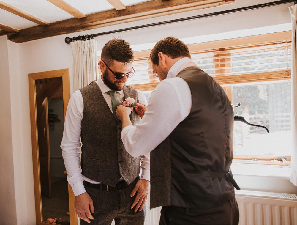 Tweed Waistcoat Groom Green Tie Tewin Bury Farm Wedding Brook Rose Photography