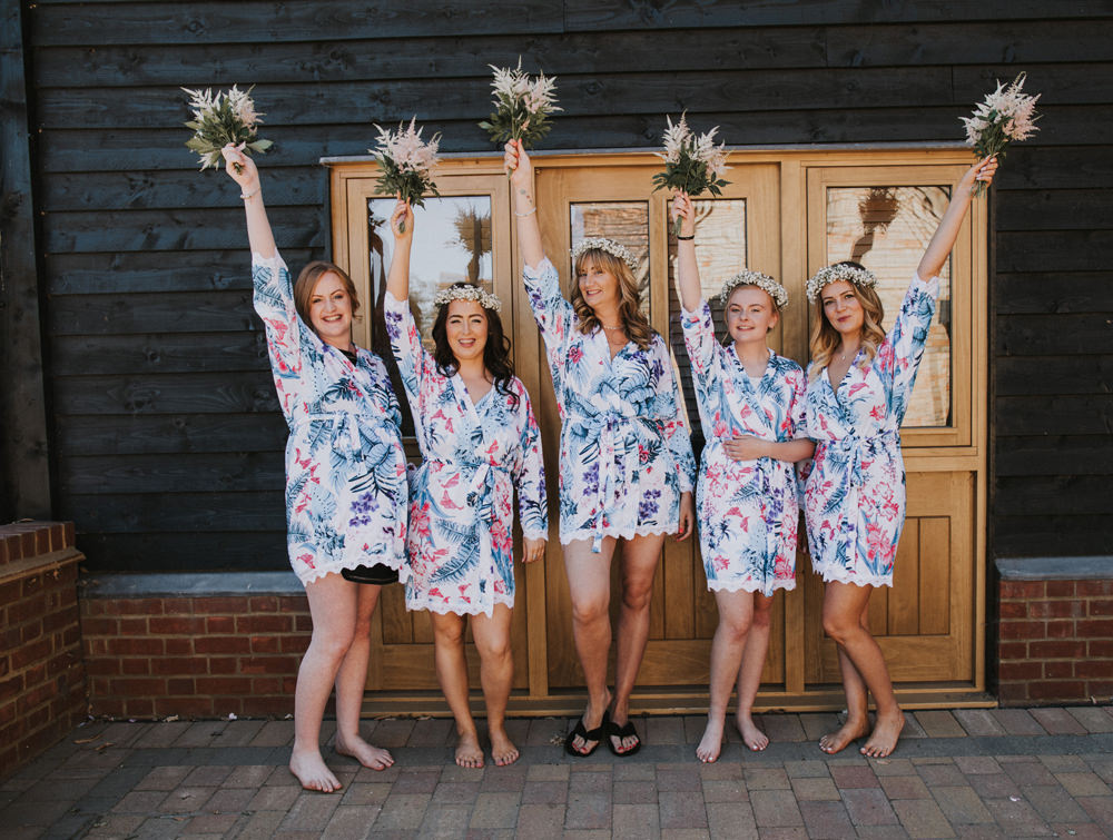 Bride Bridal Bridesmaids Floral Dressing Gown Robe Bouquet Gypsophila Flower Crowns Tewin Bury Farm Wedding Brook Rose Photography