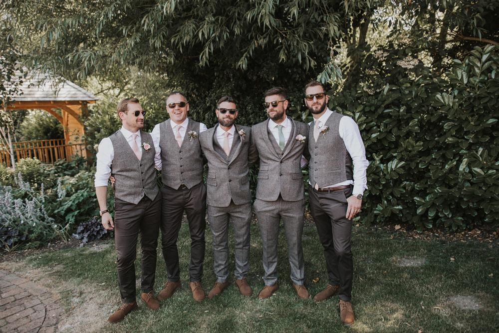 Groom Groomsmen Waistcoat Tweed Mismatched Tewin Bury Farm Wedding Brook Rose Photography