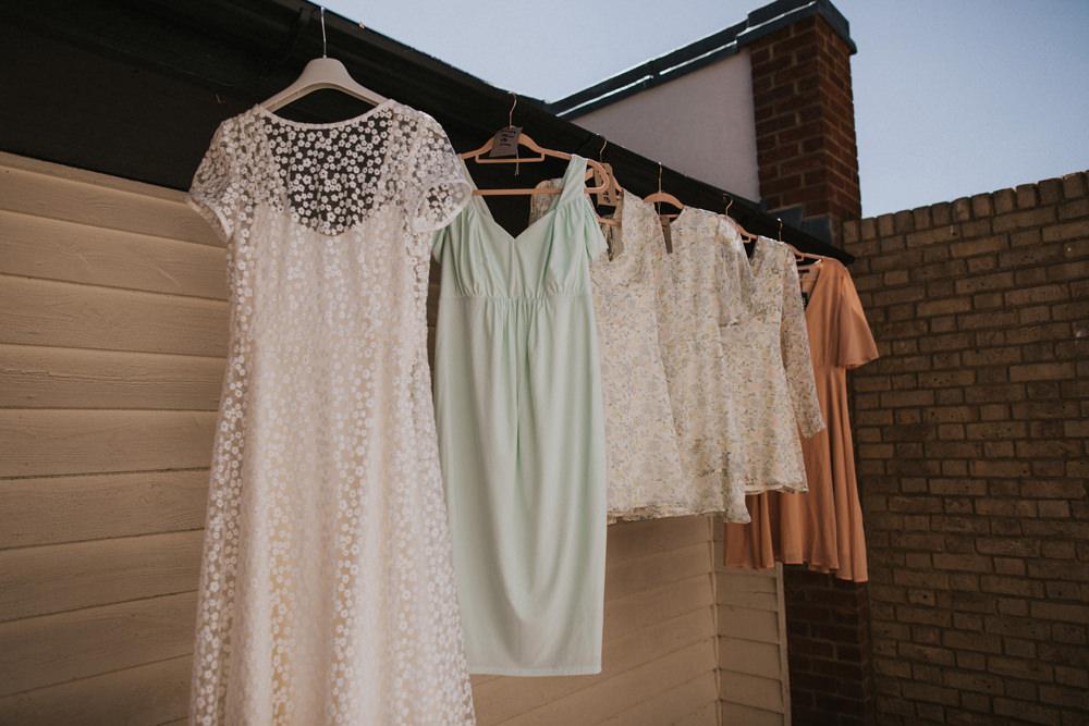 Bride Bridal Bridesmaids Sage Blush Short Dress Gown Tewin Bury Farm Wedding Brook Rose Photography