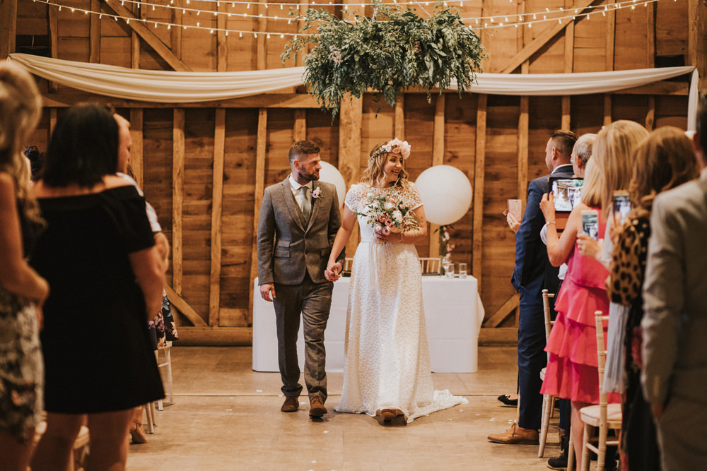 Bride Bridal Flower Crown Lace Sweetheart Neckline Tweed Waistcoat Groom Tewin Bury Farm Wedding Brook Rose Photography