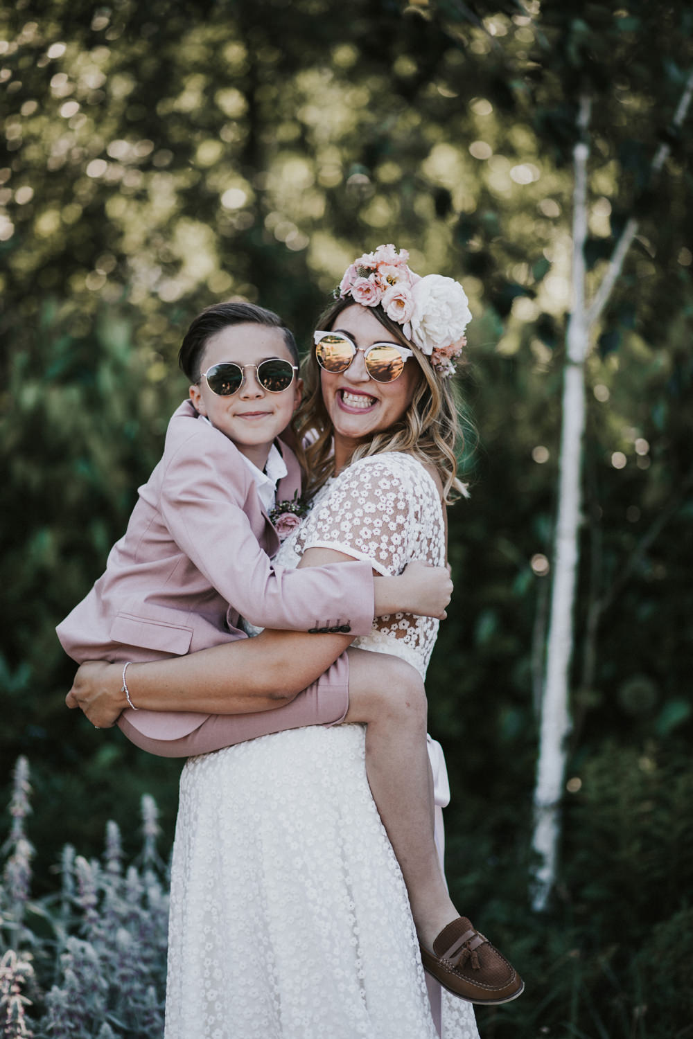 Bride Bridal Flower Crown Lace Sweetheart Neckline Pink Suit Page Boy Sunglasses Tewin Bury Farm Wedding Brook Rose Photography