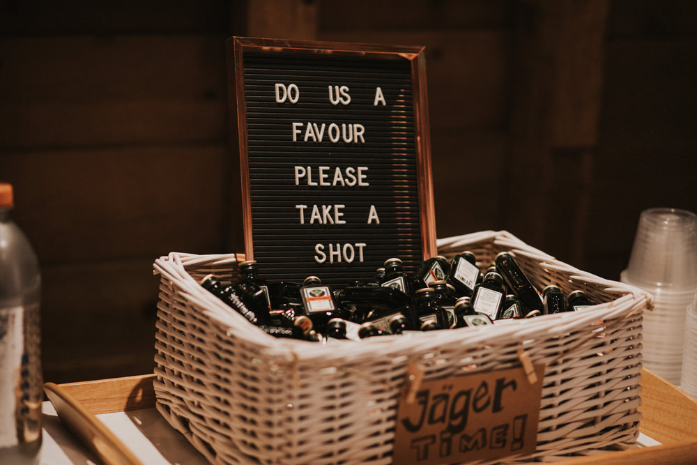 Jager Bomb Favours Shot Tewin Bury Farm Wedding Brook Rose Photography