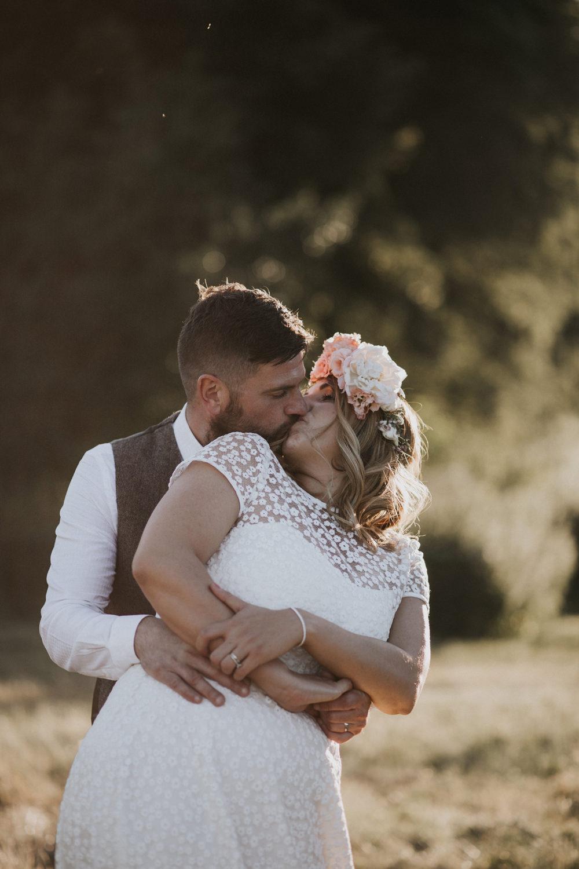 Bride Bridal Flower Crown Lace Sweetheart Neckline Waistcoat Groom Tewin Bury Farm Wedding Brook Rose Photography