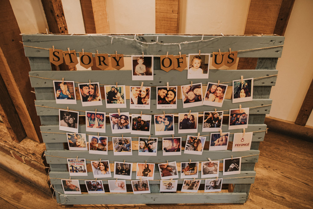 Pallet Sage Story of Us Polaroid Photograph Peg Twine Fairy Lights Tewin Bury Farm Wedding Brook Rose Photography