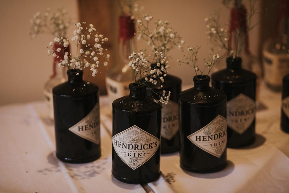 Hendricks Bottles Gypsophila Tewin Bury Farm Wedding Brook Rose Photography