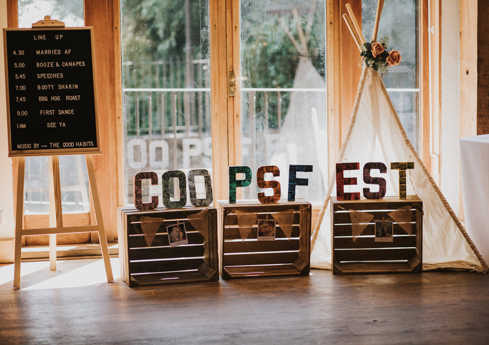 Fest Festival Letters Bunting Crates Line Up Peg Word Board Easel Tipi Tewin Bury Farm Wedding Brook Rose Photography