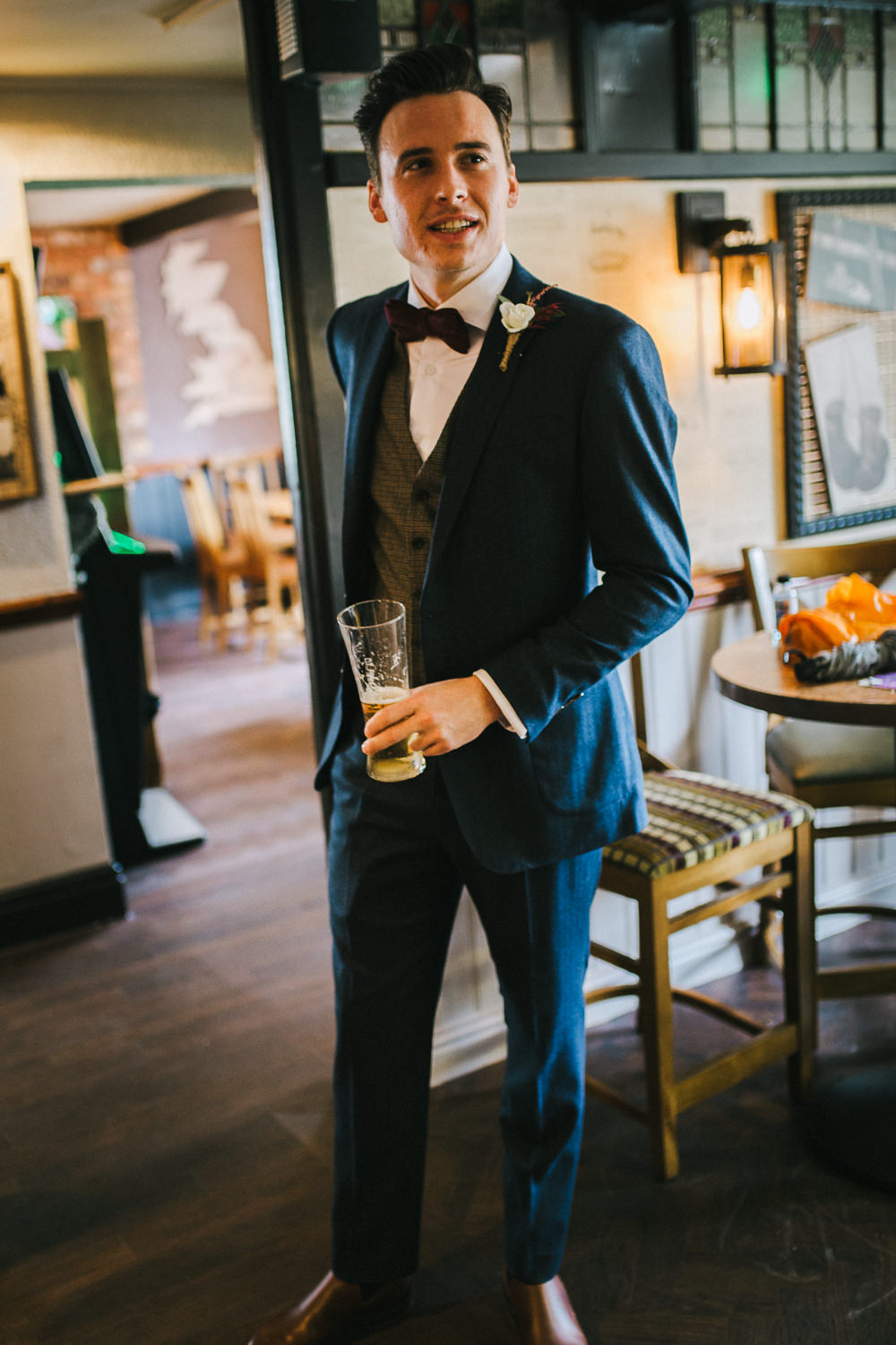 Groom Suit Blue Grey Waistcoat Red Bow Tie Tipi Garden Wedding Amy Jordison Photography
