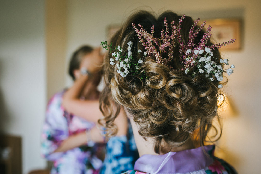 Hair Bride Bridal Up Do Style Flowers Tipi Garden Wedding Amy Jordison Photography