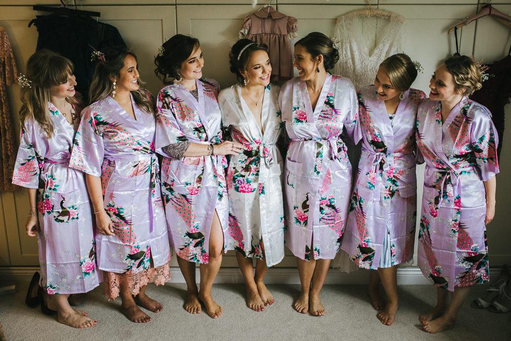 Bride Bridal Prep Dressing Gowns Bridesmaids Robes Tipi Garden Wedding Amy Jordison Photography