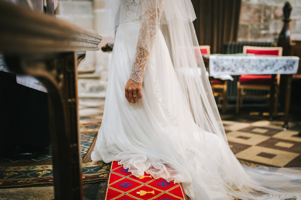 Dress Gown Bride Bridal Long Sleeves Tulle Skirt Train Tipi Garden Wedding Amy Jordison Photography