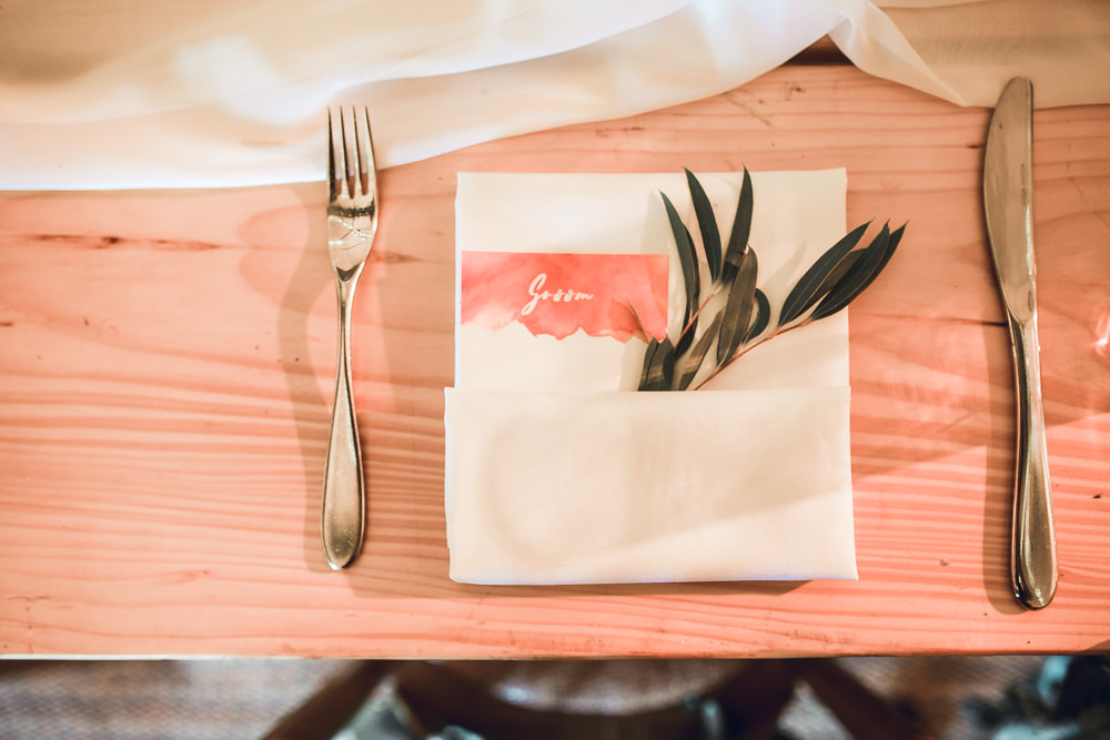 Watercolour Stationery Menu Place Setting Tipi Garden Wedding Amy Jordison Photography