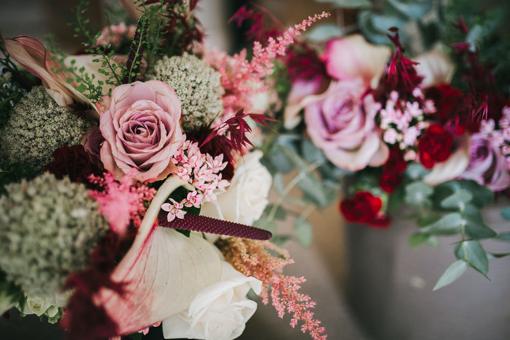 Bouquets Flowers Bride Bridal Pink Red Rose Astilbe Lily Tipi Garden Wedding Amy Jordison Photography